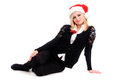 Christmas beautiful woman on isolated in white Stock Photos