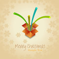 Christmas beige background with open gift  box Royalty Free Stock Images
