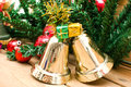 Christmas bell and christmas decoration background Royalty Free Stock Photo
