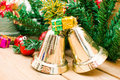 Christmas bell and christmas decoration background Royalty Free Stock Photos