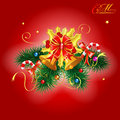 Christmas bell and fir branches with candy on red background vector illustration Royalty Free Stock Photo
