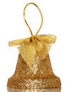 Christmas bell golden jingle on white background with reflection Stock Photography