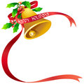 Christmas bell vector illustration of with poinsettia and red ribbon in eps format Stock Photo