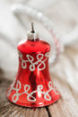 Christmas bell on wooden background Royalty Free Stock Photo