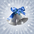 Christmas bells background silver shiny Royalty Free Stock Images
