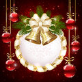 Christmas bells and baubles red background with bow illustration Royalty Free Stock Photos