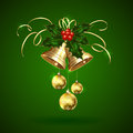 Christmas bells holly berries and baubles golden with tinsel on green background illustration Stock Images