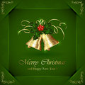 Christmas bells and holly berries green background with illustration Stock Images