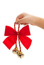 Christmas bells and ribbon with white background Stock Images