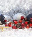 Christmas berries and baubles Stock Images