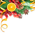 Christmas berries and spruce branch with cones oranges Stock Photo