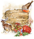 Christmas bird and Christmas background. watercolor illustration Royalty Free Stock Photo