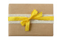Christmas birthday surprise package with yellow ribbon Royalty Free Stock Photo