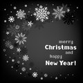 Christmas black swirl background and white snow with a congratulatory text message Stock Image