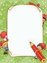 Christmas blank banner with santa claus and kids place for text Stock Photo