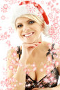 Christmas blond in lingerie black with snowflakes Stock Photos
