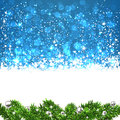 Christmas blue abstract background winter illustration with snowflakes and sparkles Royalty Free Stock Photos