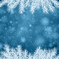 Christmas blue abstract background winter illustration with snowflakes and sparkles white fir needles Stock Photography