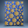 Christmas blue background gold snowflakes on Stock Photos