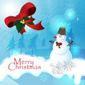 Christmas blue background snow man Stock Image