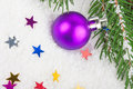 Christmas blue ball on fir tree branch celebration decoration Royalty Free Stock Image