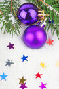 Christmas blue ball on fir tree branch celebration decoration Stock Photos