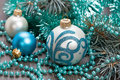 Christmas blue balls and beads decorations Stock Photos