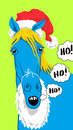 Christmas blue horse a dressed as santa that says ho ho ho funny illustration Stock Image