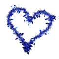 Christmas blue tinsel in form of heart isolated on a white background Stock Image