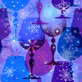 Christmas blue-violet seamless pattern Stock Photos
