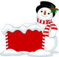 Christmas board and snowmen cute near snowbound Royalty Free Stock Image