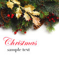 Christmas boarder with fir tree branch with cones and ornament Royalty Free Stock Photo