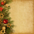 Christmas border beige paper background with Royalty Free Stock Photography