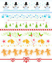Christmas border collection Royalty Free Stock Images