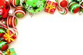Christmas border corner with baubles candy and gifts Royalty Free Stock Photography