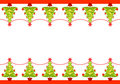 Christmas border with decorated trees Royalty Free Stock Photography