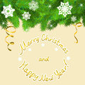 Christmas border of fir branches and snowflakes vector illustration Royalty Free Stock Photos