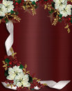 Christmas border flowers and ribbon Royalty Free Stock Photography