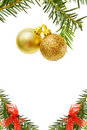 Christmas border with golden baubles and pine tree Royalty Free Stock Photo
