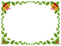 Christmas border / Holly leaves Royalty Free Stock Photo