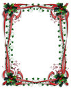 Christmas Border Holly red ribbons Royalty Free Stock Photo