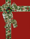 Christmas Border Holly ribbon and bow Royalty Free Stock Photography