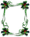 Christmas Border Holly and ribbons frame Royalty Free Stock Photo