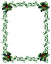 Christmas border Holly on white background Royalty Free Stock Images