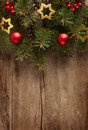 Christmas border old grunge wooden board with Royalty Free Stock Image