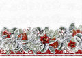 Christmas border with poinsettia, snow branches and balls on a white background .Greeting card Royalty Free Stock Photo