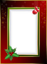 Christmas border related gold and red illustration Royalty Free Stock Photos