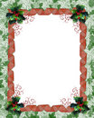 Christmas border ribbons and holly Royalty Free Stock Photo