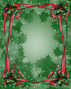 Christmas Border Ribbons and Holly Royalty Free Stock Images