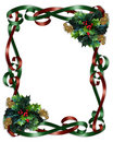 Christmas Border Ribbons and Holly Stock Photo